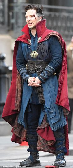'There's all sorts of craziness...It's really rough and tumble': As the titular character, Cumberbatch rocked a silver-streaked wig, red Cloak of Levitation, and the amulet Eye of Agamotto - which 'can manipulate time'