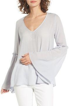 New Womens Ladies Long Bell Sleeve Waterfall Peplum Ruffle Frill Tee T Shirt Top