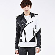 Colour block faux leather rider jacket