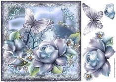 Gorgeous Moonlight and Roses Topper on Craftsuprint designed by Julie Hutchings - Gorgeous Moonlight and Roses Topper lovely and easy to make with roses and butterfly decoupage - Now available for download!