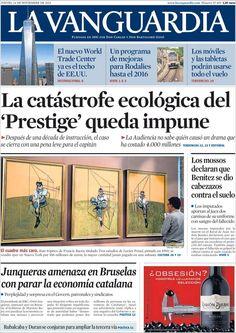 Los Titulares y Portadas de Noticias Destacadas Españolas del 14 de Noviembre de 2013 del Diario La Vanguardia ¿Que le pareció esta Portada de este Diario Español?