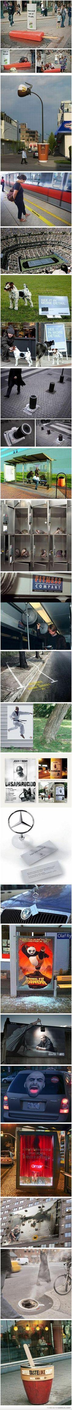 Great #advertising ideas for public spaces #GuerillaMarketing | Unerwartete Werbung im öffentlichen Raum clever gemacht