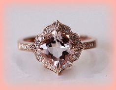 Vintage Engagement Ring Cushion Cut Morganite in by ItWasLikeMagic