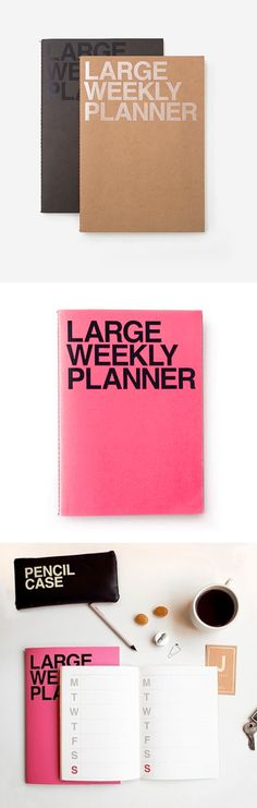 The Large Weekly Planner is a simple and intuitive weekly planner, and the simplicity of this planner gives you a plenty of spaces to write many plans, tasks, and memos! Of course, you can decorate the plain pages with stickers, masking tapes, pens, and sharpies to make it unique and your very own planner!