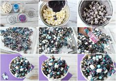 Galaxy Party Popcorn Galaxy Themed Party Popcorn Snack Recipe<br> From themed parties to movie nights, this party popcorn mix is the perfect snack! Party Popcorn Recipes, Popcorn Snacks, Candy Popcorn, Snack Recipes, Popcorn Mix, Pizza Recipes, Galaxy Desserts, Ice Cream Toppings, Candy Melts
