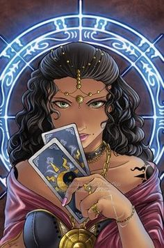 Gypsy Tarot Reader.... She is intent on her response to what the cards are telling her.....