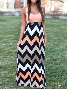 Peach Pink Contrast Multicolor Chevron Sleeveless Maxi Dress
