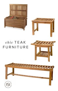 Embrace the warm seasons in style with this stunning collection of teak outdoor furniture from Signature Hardware. From benches and swings to storage and dining tables, they have you covered.