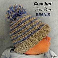 LOVE THE COLORS FOR A BOY~ Crochet Pom Pom Beanie ~ FREE Crochet Pattern