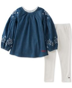 843174ad68167 Tommy Hilfiger 2-Pc. Denim Tunic & Ribbed Leggings Set, Little Girls (4-6X)  & Reviews - Sets & Outfits - Kids - Macy's