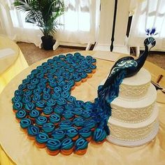 Another Beautiful Creative Pull Apart Peacock Inspired Wedding Cake