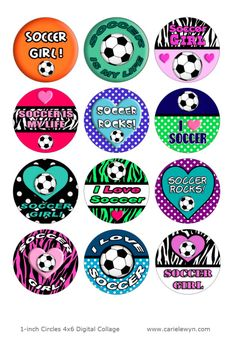 Girls Soccer Bottlecap Images / Soccer Girl / I Love by carielewyn, $1.75