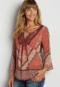 peasant top in patchwork print with lace | maurices