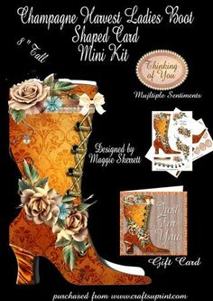 Champagne Harvest Ladies Boot Minit Kit plus Gift Card  on Craftsuprint - Add To Basket!