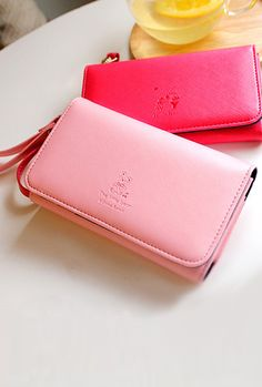 Poetic Imagination Cell Phone Wallet Wristlet in Pink Bear  $21.99