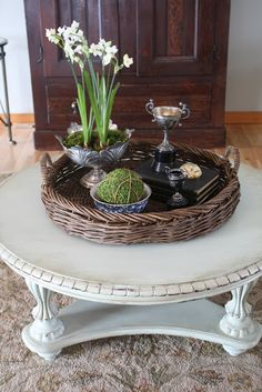 Remember my serious coffee table? All dark, shiny, formal? This was an expensive table that I bought a few years ago through a cata...
