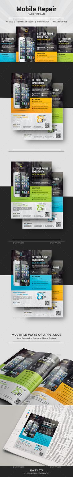 Smartphone Repair Flyer Template PSD+  3 Colors + Background Image included as Bonus. Instant Download http://graphicriver.net/item/smartphone-repair-flyer/16193351?ref=themedevisers