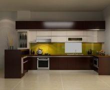 Tủ bếp gỗ công nghiệp Laminate đẹp, sang trọng, phong cách hiện đại