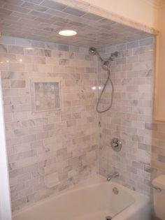 Simple clean shower tile - subway design with niche New Bathroom Ideas, Bathroom Inspiration, Small Bathroom, Master Bathroom, Upstairs Bathrooms, Basement Bathroom, Bathroom Renos, Bath Remodel, Beautiful Bathrooms
