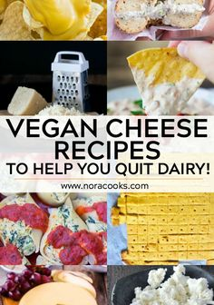 dairy for good with these Vegan Cheese Recipes, cheddar cheese, mozzarella and queso dips to cheesecake and cheese-it's! Vegan Cheese Recipes, Vegan Snacks, Cheesecake Recipes, Dessert Recipes, Cheese Design, Vegan Ricotta, Allergy Free Recipes, How To Make Cheese, Vegan Life