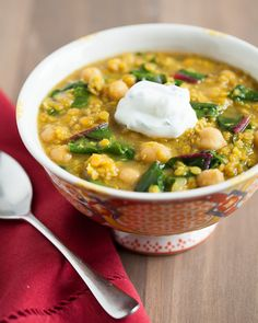 Curried Red Lentils with Garbanzo Beans and Swiss Chard