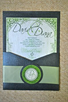 Black and Green Wedding Invitation via Etsy