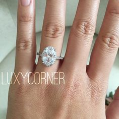 Oval halo engagement ring Oval Engagement Ring by luxycorner