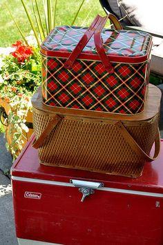 vintage picnic basket and cooler