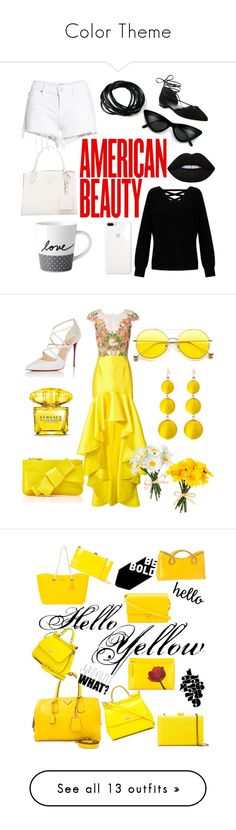 """""""Color Theme"""" by akwhy ❤ liked on Polyvore featuring Miss Selfridge, Hudson Jeans, Royal Doulton, Stuart Weitzman, Notte by Marchesa, Christian Louboutin, Evergreen, Delpozo, Versace and PopsOfYellow"""