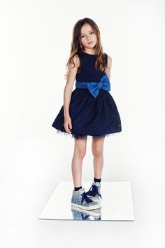Blue taffetá dress for girl with tulle from L:ú L:ú by Miss Grant SS 17 collection