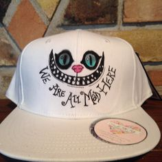 dd92c83b59f White all mad here custom snapback hat - pinned by pin4etsy.com Flat Brim  Hat