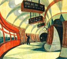 The Tube Station by Cyril Power  Printed from five blocks: Yellow Ochre; Spectrum Red; Permanent Blue; Viridian, and Chinese Blue.   Bank Road Tube Station.   Limited edition giclee print.  Edition of 950    via: Art of Illustration