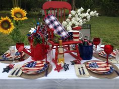 Labor Day, 4th of July, Memorial Day, Sunflowers, Rocking Chair, watering can, ice bucket, red, white and blue, americana, stars and strips