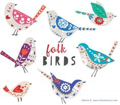 Inspired by the folk art trend, new in the birds series! The bird series have been popular on our website starting with Spring Birds and recently Geometric Birds. Now Folk Birds in time to Watercolor Clipart, Watercolor Flower, Folk Embroidery, Embroidery Patterns, Bordado Popular, Geometric Bird, Image Clipart, Art Clipart, Spring Birds