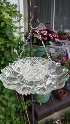 My Glass Garden - vintage cut glass bird feeder - Modern Design Glass Garden Flowers, Glass Plate Flowers, Glass Garden Art, Flower Plates, Glass Birds, Glass Art, Cut Glass, Glass Bird Bath, Garden Crafts