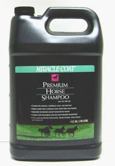 Miracle Coat Premium Horse Shampoo 1 Gallon by Miracle Coat. $11.50. This is Miracle Coat Premium Horse Shampoo. It gently and thoroughly cleanses for that perfect, show-quality sheen. Helps repair damaged hair to create greater shine and luster - for even the most beautiful horse. Soothes and promotes faster healing of skin irritations caused by fungus, flies and ticks, as well as cuts and scratches. Makes your horse look its best - not just on the day of washin...