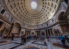 Interior pf the Pantheon, perhaps the best preserved ancient Roman Temple - 10 must see places when in Rome.