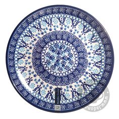 Bord 20 cm. Nautique Polish Pottery, Dinnerware, Stoneware, Decorative Plates, Castle, Blue And White, Hand Painted, Tableware, How To Make