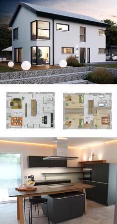 Modernes Design Haus mit Satteldach Architektur - Neubau modern als massives Fertighaus Grundriss Einfamilienhaus ICON 4 XL Dennert Massivhaus - HausbauDirekt.de