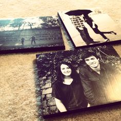 DIY Photo Canvas -- use engagements/bridals to place around reception within decor. Can be given to parents/grandparents or kept for your home together.