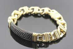 18k Yellow Gold & Black Diamond David Yurman Mens Bracelet 3.30 TCW 82.5g #DavidYurman