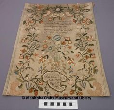 """Sampler made by Ann Elliott in 1811 when she was 14 years. Text: The one thing needful, that Good part Which Mary chose with all her heart I would pursue with heart and mind And seek unwearied till I find To thee o God to thee I pray Teach me to know and find the way How all my sins may be forgiven And a sinner get to heaven. At the bottom """"Ann Elliot/Aged 14 years/March the 28/1811"""" Craft Museum, Printed Linen, Heart And Mind, Fascinator, Needlework, Stitches, Pray, Little Girls, Vintage World Maps"""