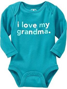 """I Love My Grandma"" Bodysuit in cyan blue. *No Longer Available* ---- baby clothes. newborn. pregnancy. blue and white long sleeve onesie. Old Navy."