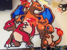 Charmander Evo Line - Pokemon perler bead sprite by SabretoothCreations