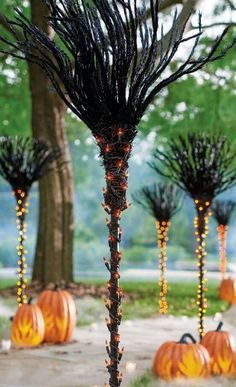 Lighted Broomsticks Yard Torches