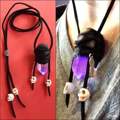 "HOW TO tutorial: make a leather bound necklace with skull beads and a pulsating glow quartz crystal. They call it a ""Voodoo Heart"" - especially cool for Halloween."