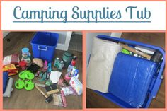 Camping Supplies Tub: Part of the Ultimate Family Camping Packing List With Printables from Your Own Home Store: https://simplefamilypreparedness.com/family-camping-list/