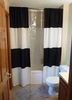 Bathroom Shower Curtain Ideas Fresh How to Change the Décor Your Bathroom with A Simple Diy Shower Curtain 15 Ideas Double Shower Curtain, Black Shower Curtains, Fabric Shower Curtains, Curtain Tutorial, Tutorial Diy, Diy Curtains, Bathroom Shower Curtains, Striped Curtains, Long Curtains