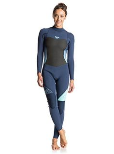 Roxy Womens Roxy Syncro Back Zip Full Wetsuit Women 6 Blue Blue Print 6 ** Learn more by visiting the image link. Womens Wetsuit, Fishnet Stockings, Outdoor Wear, Surf Girls, Rip Curl, Swimsuits, Swimwear, Billabong, Leotards