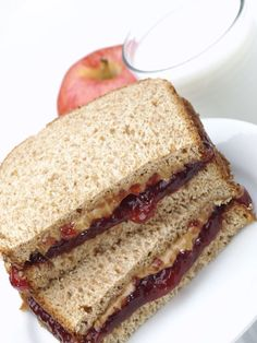 2 slices wheat bread 2 tablespoons peanut butter 2 tablespoons honey 1 apple - Toast the two slices of bread.  - Spread peanut butter onto one toasted slice and honey onto the other. Then put them together. - Enjoy with an apple.   - Seventeen.com